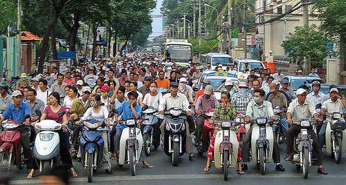 A lot of Vietnamese motorbikes in Saigon