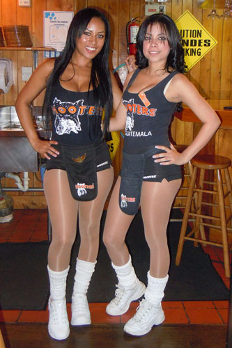 Two Central-American girls from Guatemala City in Hooters